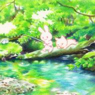 【イラスト】森の中で釣り